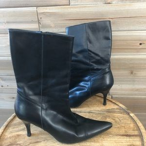 Cole Haan Pointed Toe Black Heeled Boot Size 7.5
